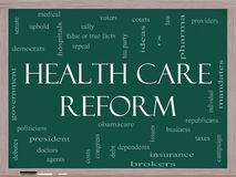 Health Care Reform Word Cloud Concept. On a Blackboard with great terms such as healthcare, politics, courts, insurance, costs, business, repeal and more Royalty Free Stock Image