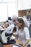 Health care researchers working in life science laboratory. stock images
