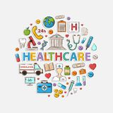 Health care set in the form of a circle. Sticker.With thermometer stethoscope tablet capsule apple ambulance syringe tooth medical card Hospital Medical Stock Photo