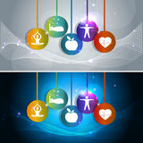 Health care signs. Health care concept signs.  Healthy heart, healthy food, good sleep, yoga and meditation. Healthy living leads to healthy heart. Two colorful Stock Photos