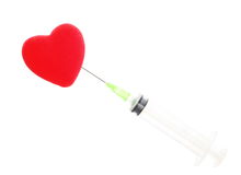 Health care syringe and red heart isolated Royalty Free Stock Image