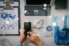 top view of smart medical doctor working with mobile phone and l royalty free stock photos