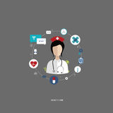 Health care. Vector illustration in a modern flat style, health care concept. A doctor in uniform with stethoscope and first aid kid. On line consultation. Flat Stock Image