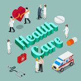 Health care vector isometric concept Stock Photos