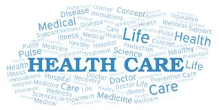 Health Care word cloud. Wordcloud made with text only royalty free illustration