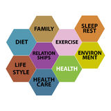 Health care word cloud, health honeycomb concept. Colourfull Royalty Free Stock Photography