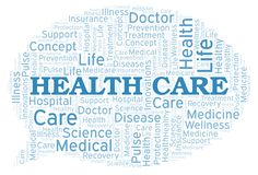 Health Care word cloud. Wordcloud made with text only stock illustration