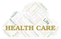 Health Care word cloud. Wordcloud made with text only vector illustration