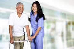 Health Care Worker and Elderly Man Royalty Free Stock Photo