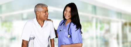 Health Care Worker and Elderly Man Stock Images