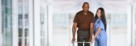 Health Care Worker and Elderly Patient Stock Photo