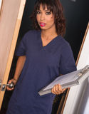Health Care Worker Enters Nursing Intern Medical Chart Clipboard Royalty Free Stock Photography