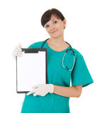 Health care worker woman with blank sign Stock Image