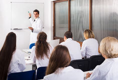 Health-care workers during educational program in school Royalty Free Stock Photo