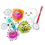 Health cartoon tooth with shield. Great for health dental care concept. Stock Photography