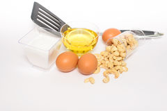 Health cashew nuts, olive oil, eggs and sugar. These are food for energy Stock Images