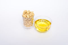 Health cashew nuts, olive oil. These are food for energy Royalty Free Stock Images