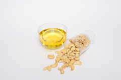 Health cashew nuts, olive oil Royalty Free Stock Photo