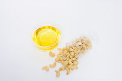 Health cashew nuts, olive oil Royalty Free Stock Image