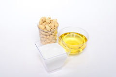 Health cashew nuts, olive oil and sugar. These are food for energy Stock Image