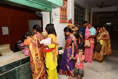 Health Center. For examine mother and child gathering at the clinic center,Half of India's children under the age of five are malnourished Stock Photo