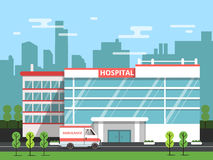 Health center, exterior of hospital building. Ambulance vector illustration Stock Photos