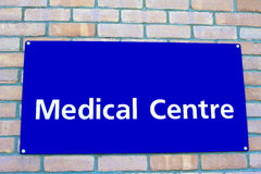 Health centre sign. Blue background blank Stock Image