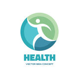 Health character - vector logo template concept illustration. Abstract running man sign. Design element.  Stock Photo