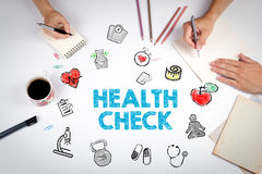Health Check concept. Healty lifestyle background. The meeting at the white office table.  royalty free stock photography