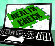 Health Check On Laptop Shows Well Being Stock Photos