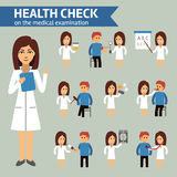 Health check on the medical examination infographic elements, doctor and patient. Medical infographic stock vector Royalty Free Stock Photography