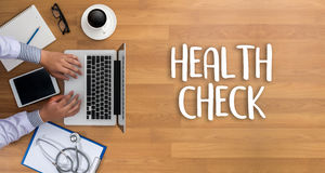 HEALTH CHECK Medicine doctor working with computer interface as stock images