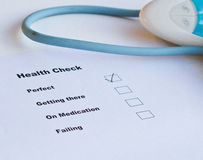 Health Check. Rating is perfect stock image