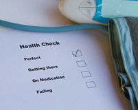 Health Check. Rating is perfect stock photo