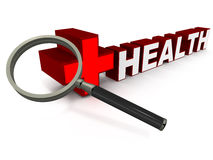 Health check up. A lens looking down on word health in red color, white background, concept of health checkup and regular visit to a healthcare center for Royalty Free Stock Photo