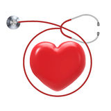 Health check up. With red heart shape and stethoscope Stock Image