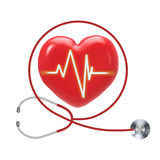 Health check up. With red heart shape and stethoscope Stock Images