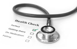 Health checklist and a stethoscope Stock Images
