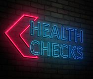 Health checks concept. 3d Illustration depicting an illuminated neon sign with a health checks concept stock illustration