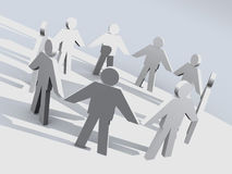 Health circle. 3d people in a circle holding hands vector illustration