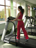Health club 2. Girl in health club at window stock photo