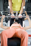 Health club. Girl in a gym doing weight lifting Royalty Free Stock Photo