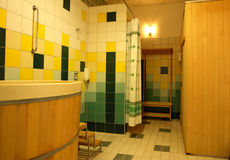 Health club shower room Royalty Free Stock Photo