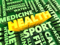 Health components. 3d illustration of health components concept, green and yellow colors Royalty Free Stock Photos