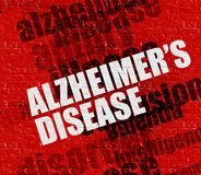 Health concept: Alzheimers Disease on Red Wall . Modern medicine concept: Alzheimers Disease on the Red Wall . Red Brick Wall with Alzheimers Disease on the it stock illustration