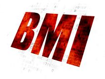 Health concept: BMI on Digital background. Health concept: Pixelated red text BMI on Digital background Stock Images
