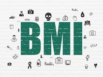 Health concept: BMI on wall background. Health concept: Painted green text BMI on White Brick wall background with  Hand Drawn Medicine Icons Royalty Free Stock Photography