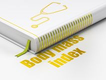 Health concept: book Stethoscope, Body Mass Index on white background. Health concept: closed book with Gold Stethoscope icon and text Body Mass Index on floor royalty free illustration