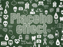 Health concept: Placebo Effect on School board background. Health concept: Chalk White text Placebo Effect on School board background with  Hand Drawn Medicine Royalty Free Stock Photography