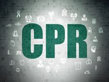 Health concept: CPR on Digital Data Paper background Stock Images